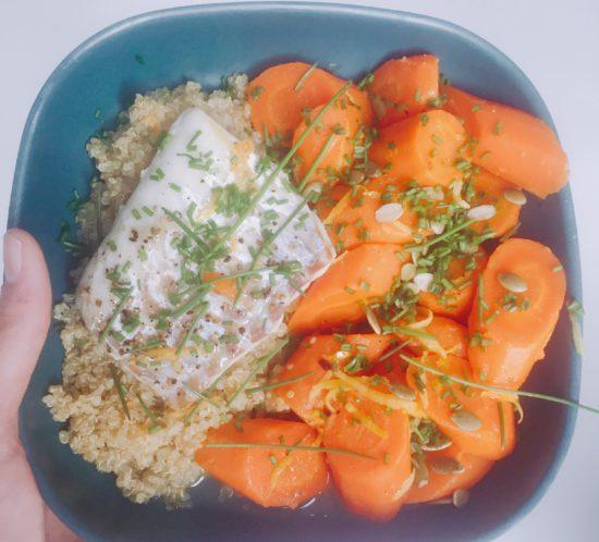 Kabeljauwhaasje, frisse wortels en quinoa