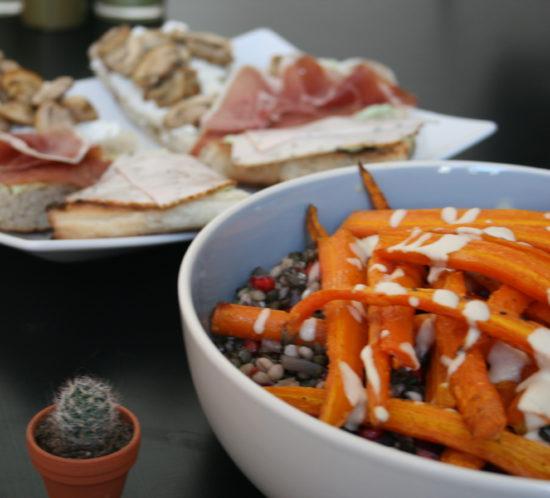 linzen-speltsalade met oven gegaarde wortelen