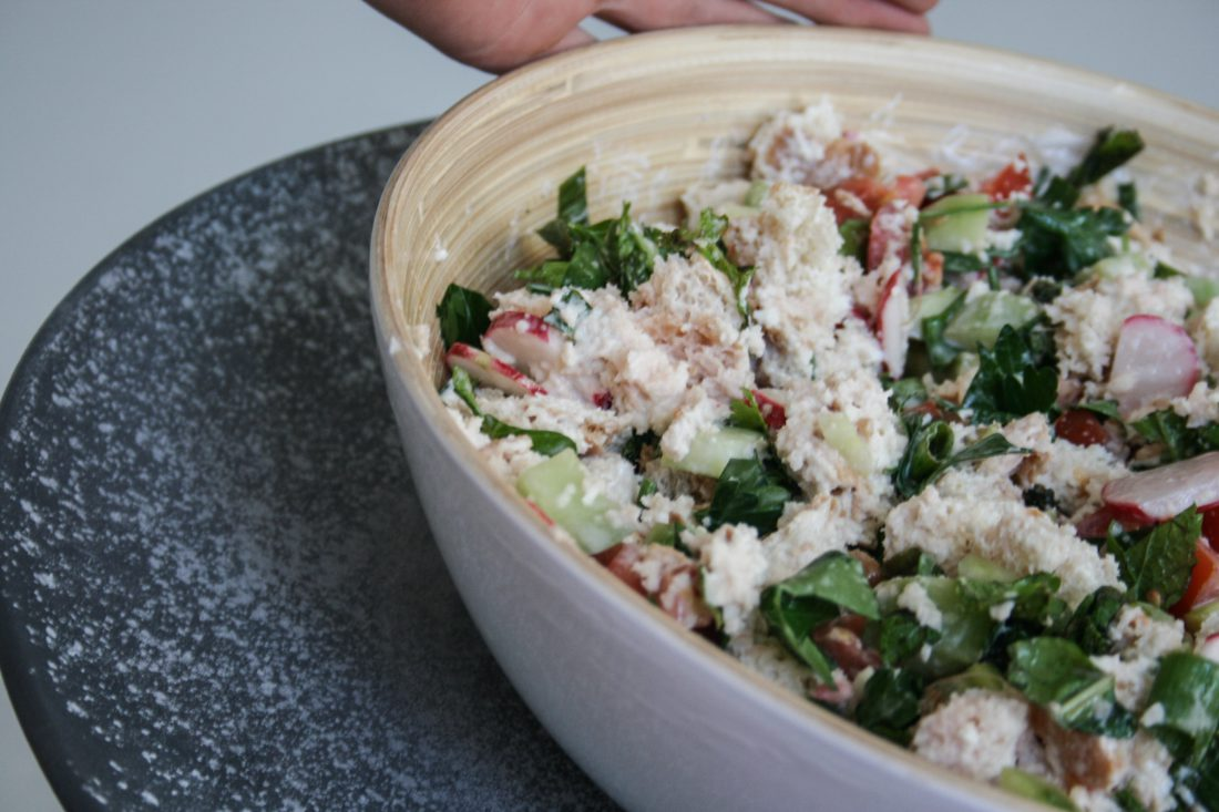 fattoush salade met witte vis