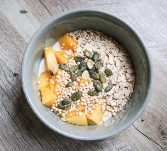 haver, koksyoghurt en mango