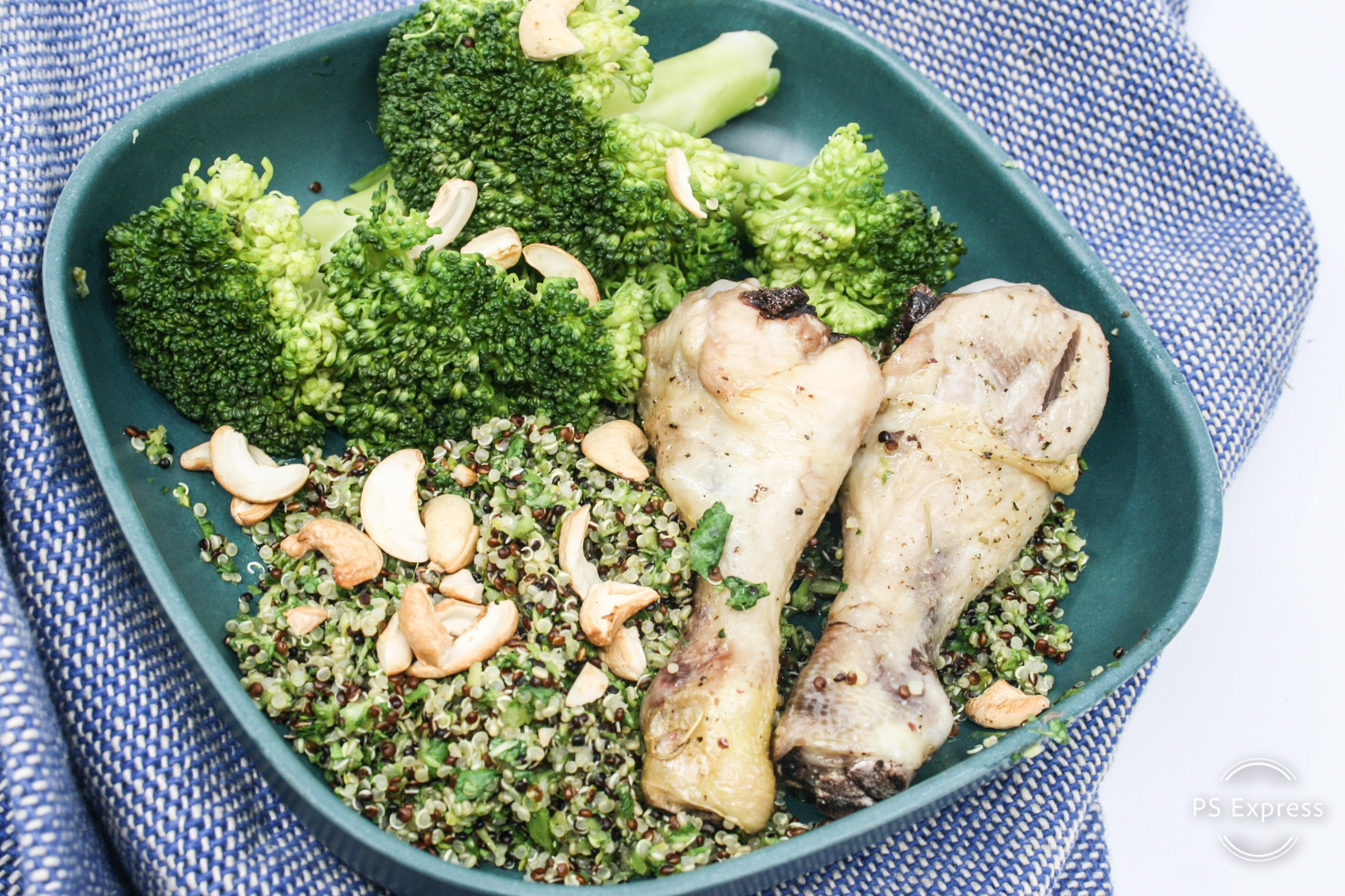 kippenbout met waterkers- pesto, broccoli en quinoa