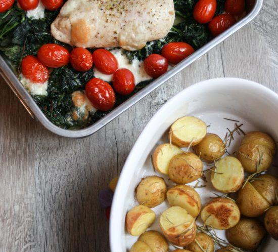Kip met spinazie en mozzarella uit de oven