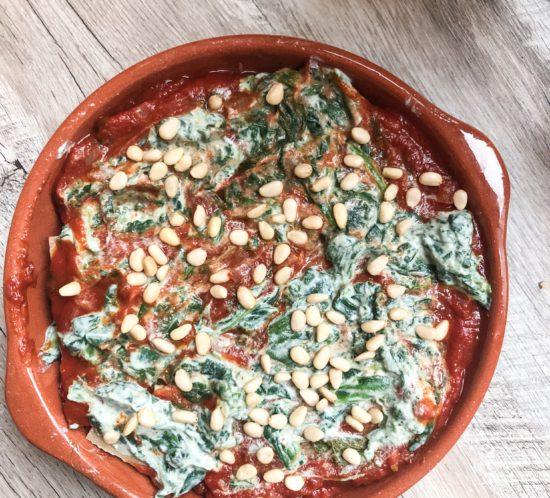 vegetarische lasagne met ricotta en spinazie