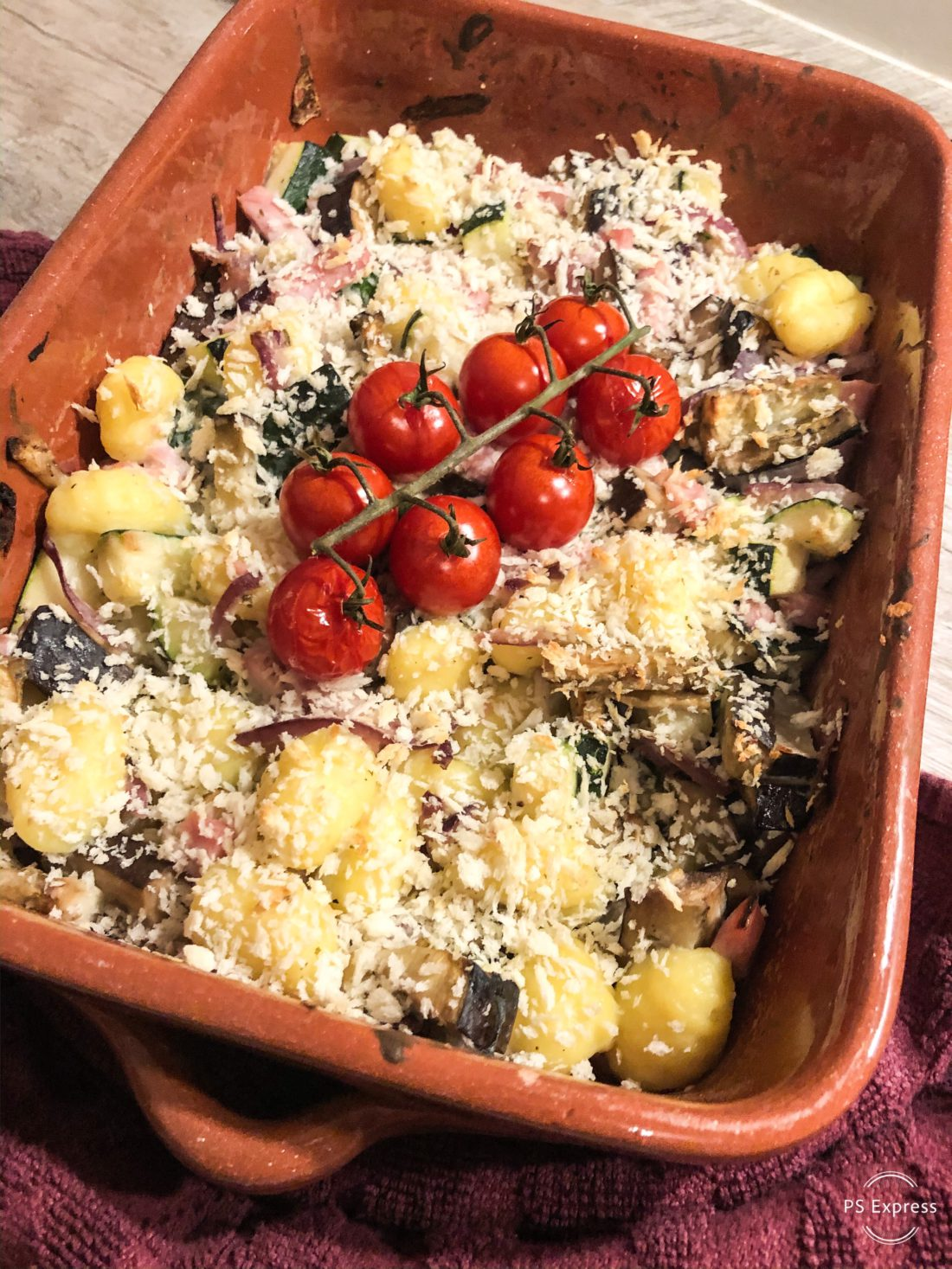 groenten uit de oven met gnocci ham en kruidenkaas