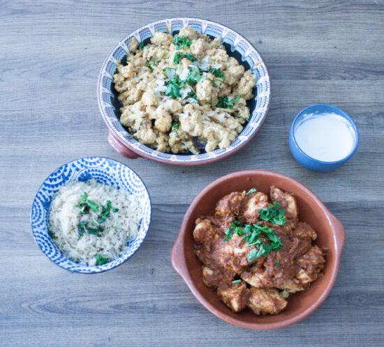 Kip tikka masala met bloemkoolcurry en zilvervliesrijst