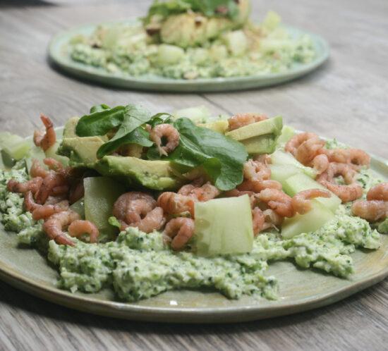 Creamy broccoli met garnalen en avocado